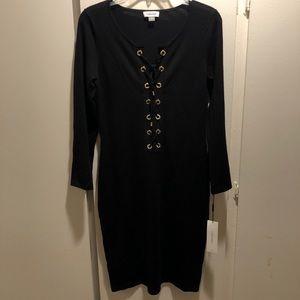 Calvin Klein Black Lace Up Dress NWT S